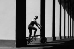 Man riding Brompton Bike